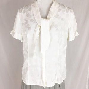 Pendleton Silk Cotton polka dot blouse 6 petite